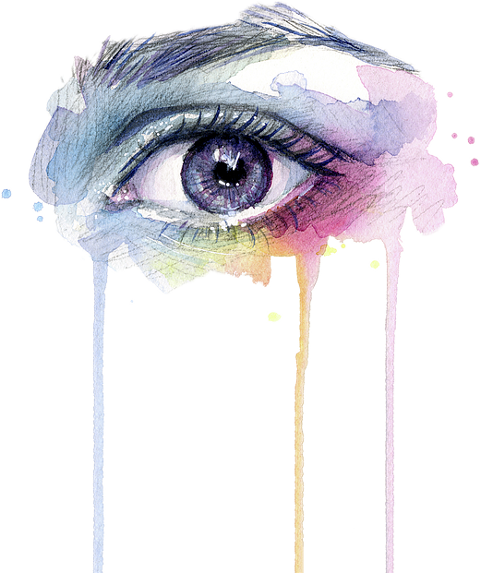 Drip drawing eye. Watercolor painting art