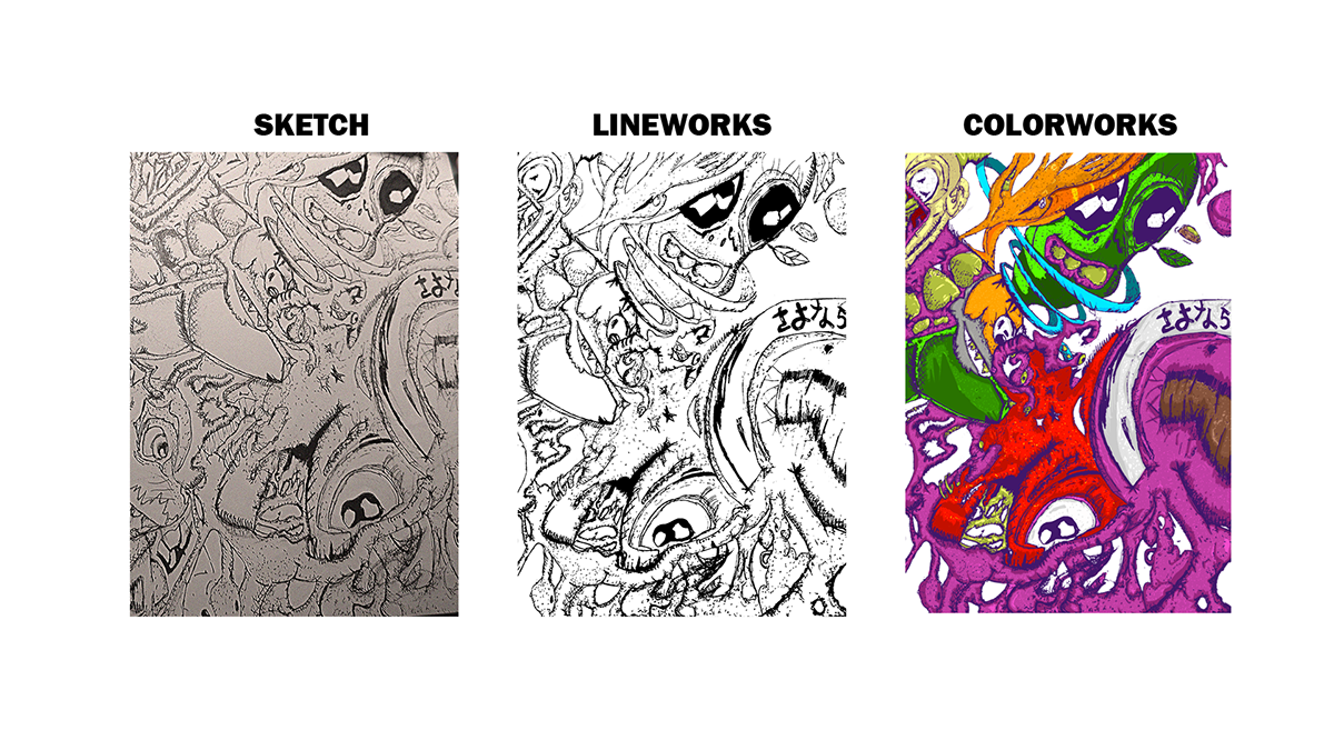 Drip drawing psychedelic. Illustrations digital painting on
