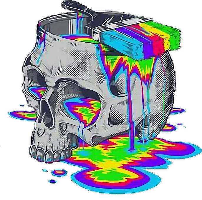 Drip drawing trippy. Skull paint rainbow psychedelic