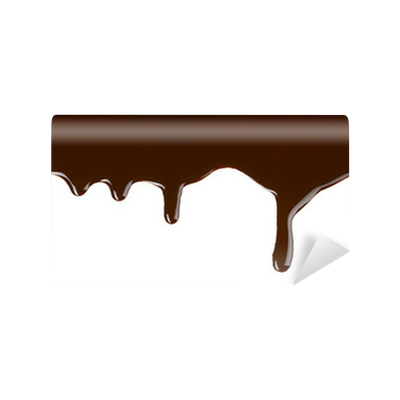 Dripping chocolate png. Melted on white background
