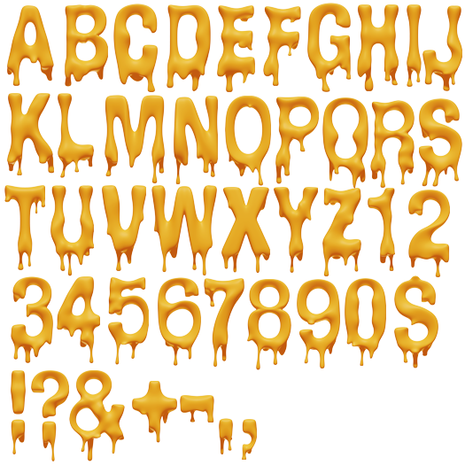 Dripping letters png. Melting font pinterest fonts