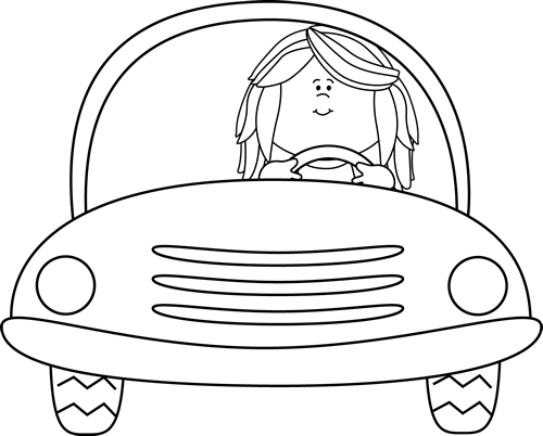 Driving clipart outline. Black and white girl