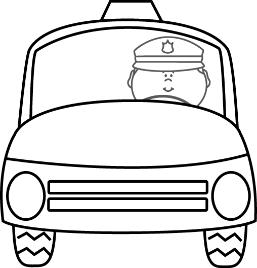 Cop clipart black and white. Police officer driving car