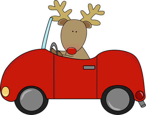 Reindeer a car clip. Driving clipart image royalty free stock