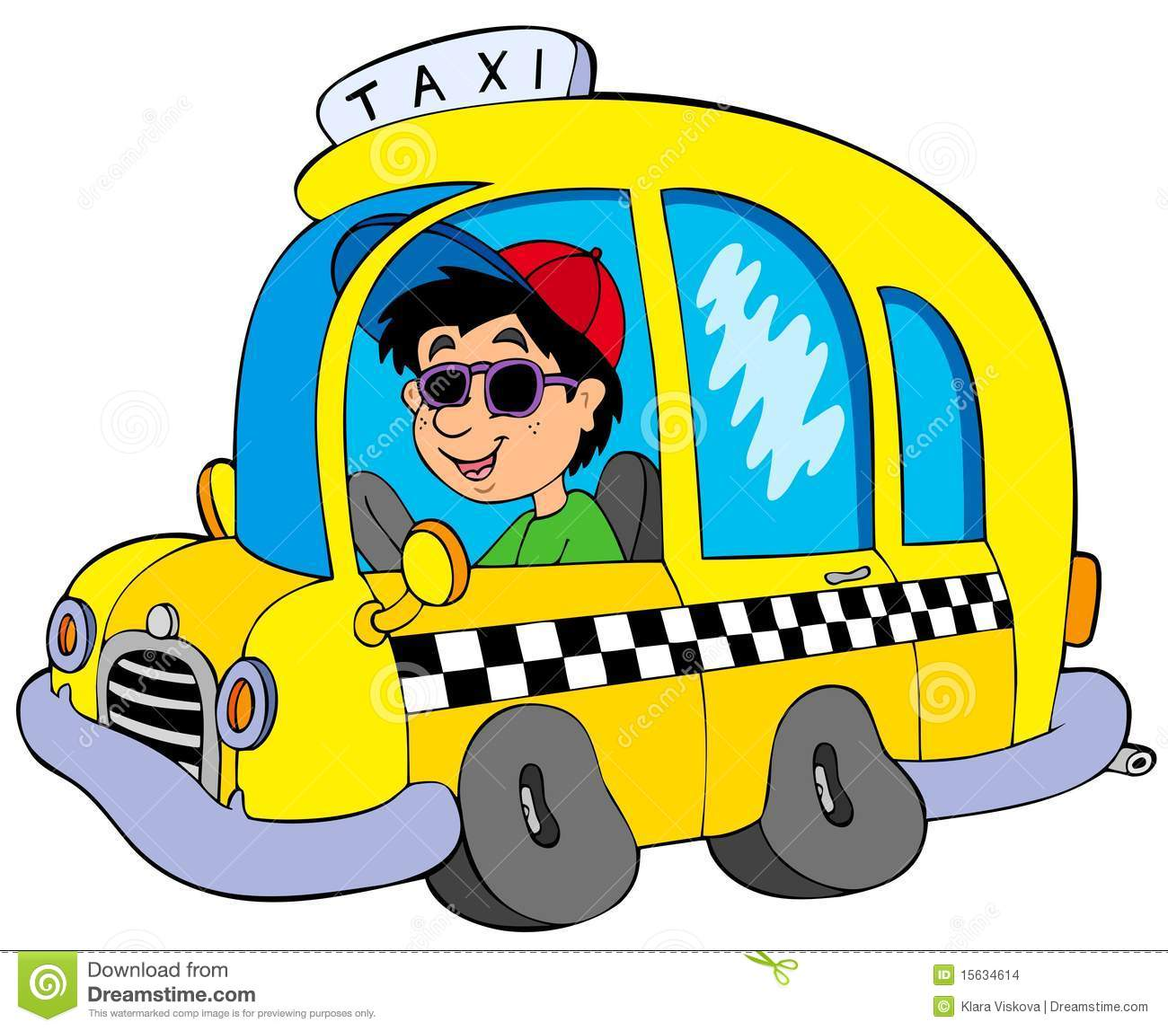 Driver clipart. Cartoon taxi stock vector clip royalty free download