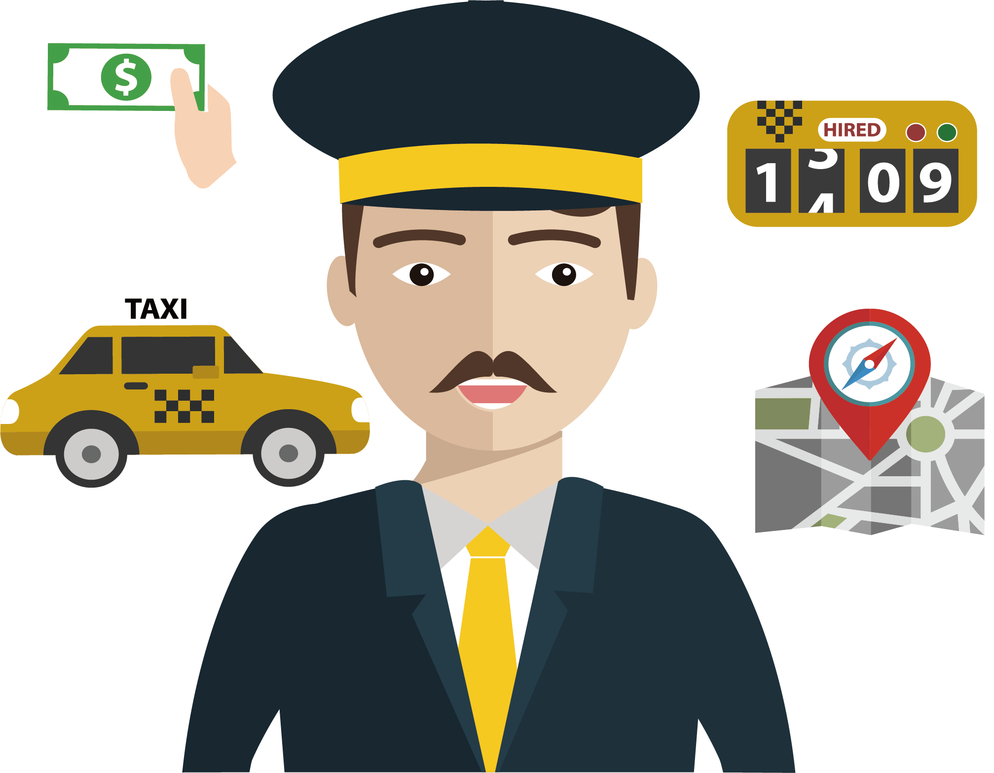 Driver vector chauffeur. Taxi transprent png free