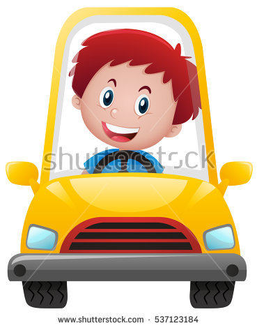 On yellow car illustration. Driving clipart boy clip art black and white download