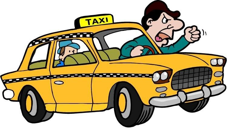 Dealing with rude cabbie. Driving clipart cab driver clipart black and white