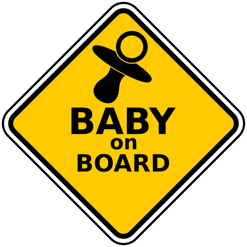Baby on board by. Driving clipart child clip art black and white stock