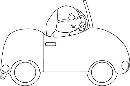 Driving clipart outline. Black and white bunny