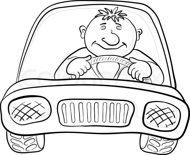 Driving clipart outline. Drawing of a person