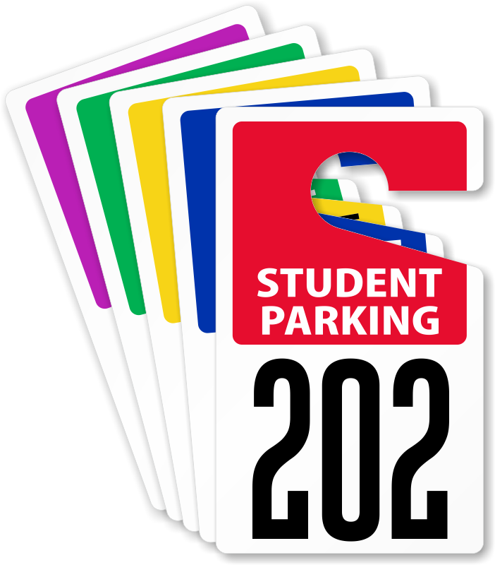 Driving clipart parking pass. Custom student faculty permits