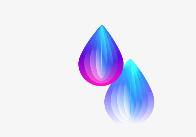 Droplets clipart three water. Color hand painted dimensional