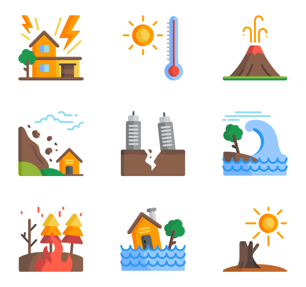 Drought drawing natural disaster. Icons free vector disasters