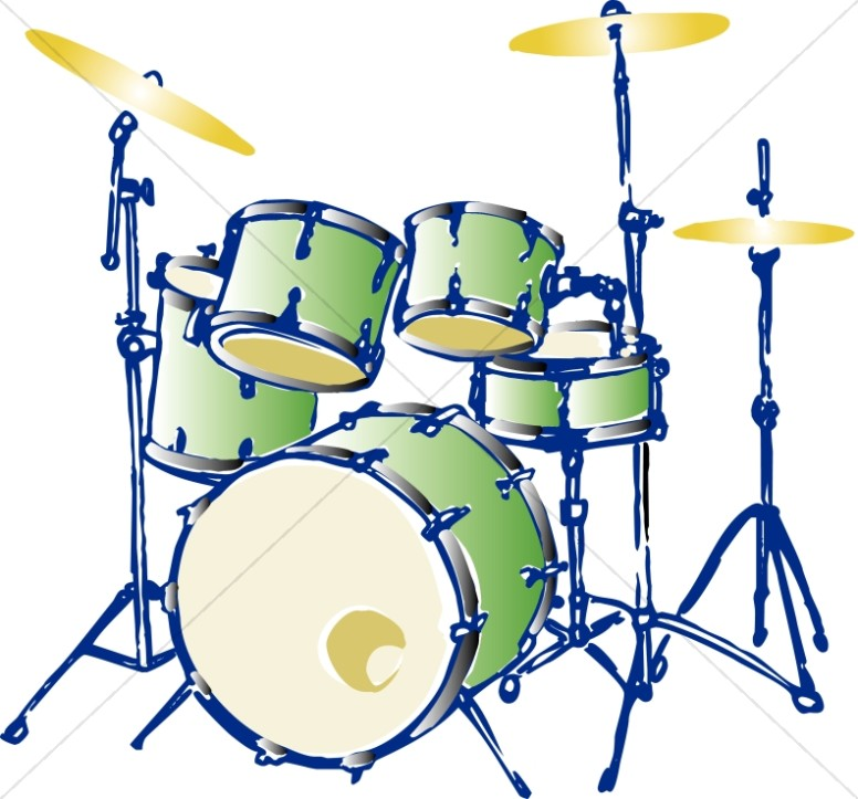 Drum clipart music thing. Green complete set church