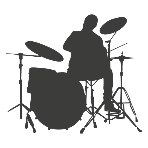 Drummer vector. Musician silhouette transparent png