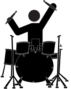 Drummer vector drumming. Boy clip art at