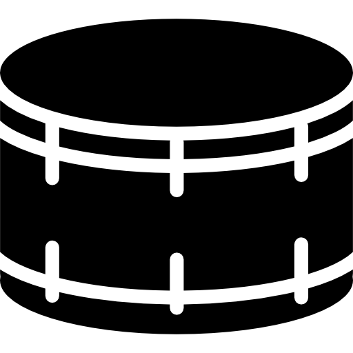 Drummer vector silhouette. Drum with white details