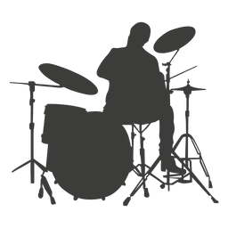 Drummer vector silhouette. Musician music drums transparent