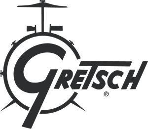 Drummer vector drumming. Gretsch drums logo eps