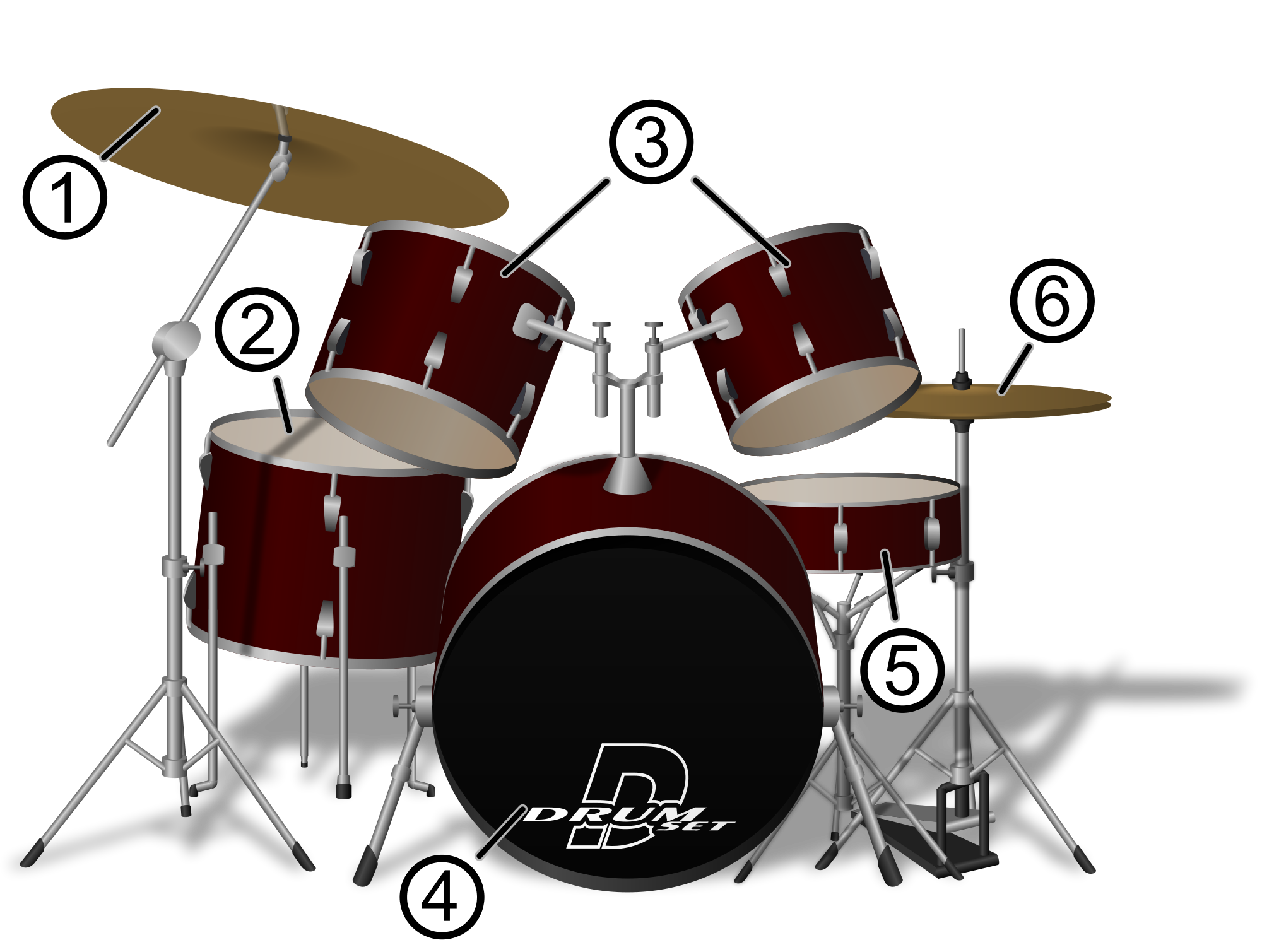 drawing drums drumset