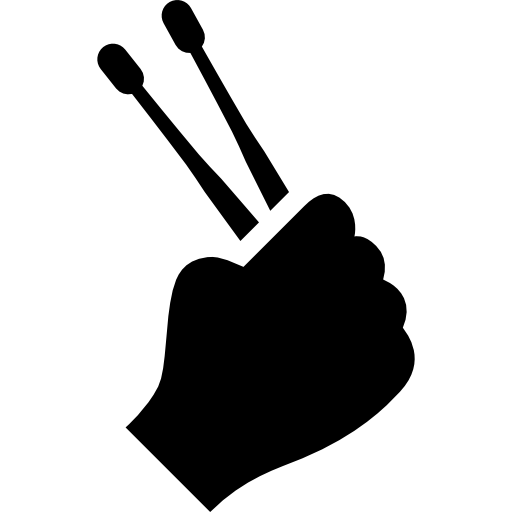 Drumsticks drawing hand holding. Up free music icons