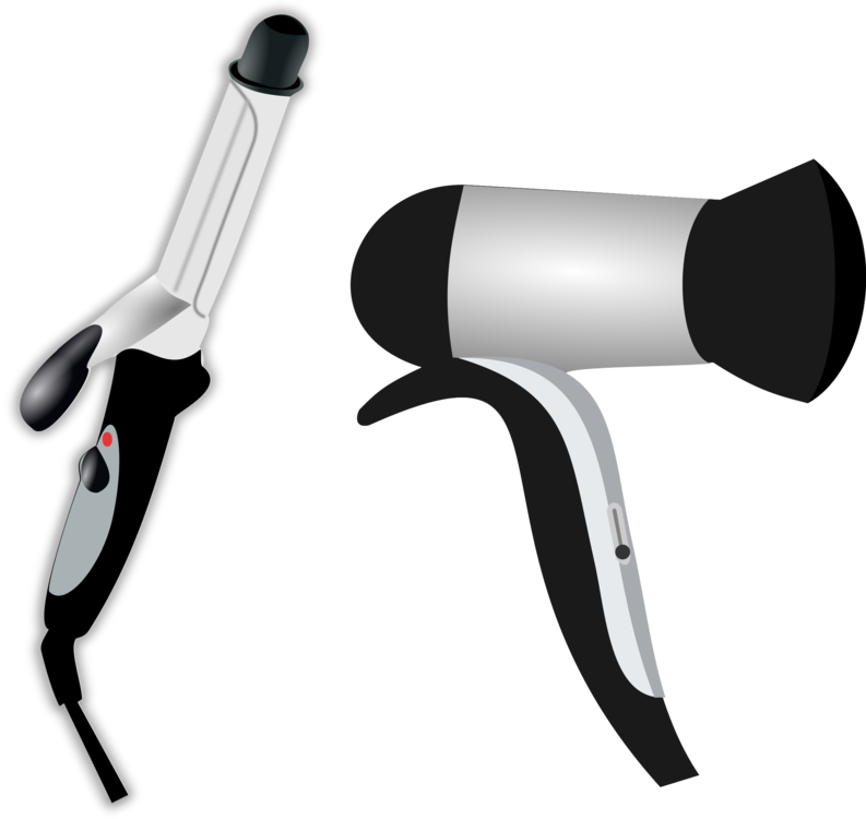 Iron dryers beauty parlour. Hair dryer and scissors png image stock