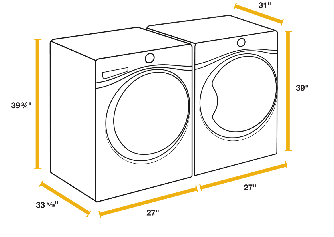 Washer and measuring guide. Dryer drawing clipart free stock
