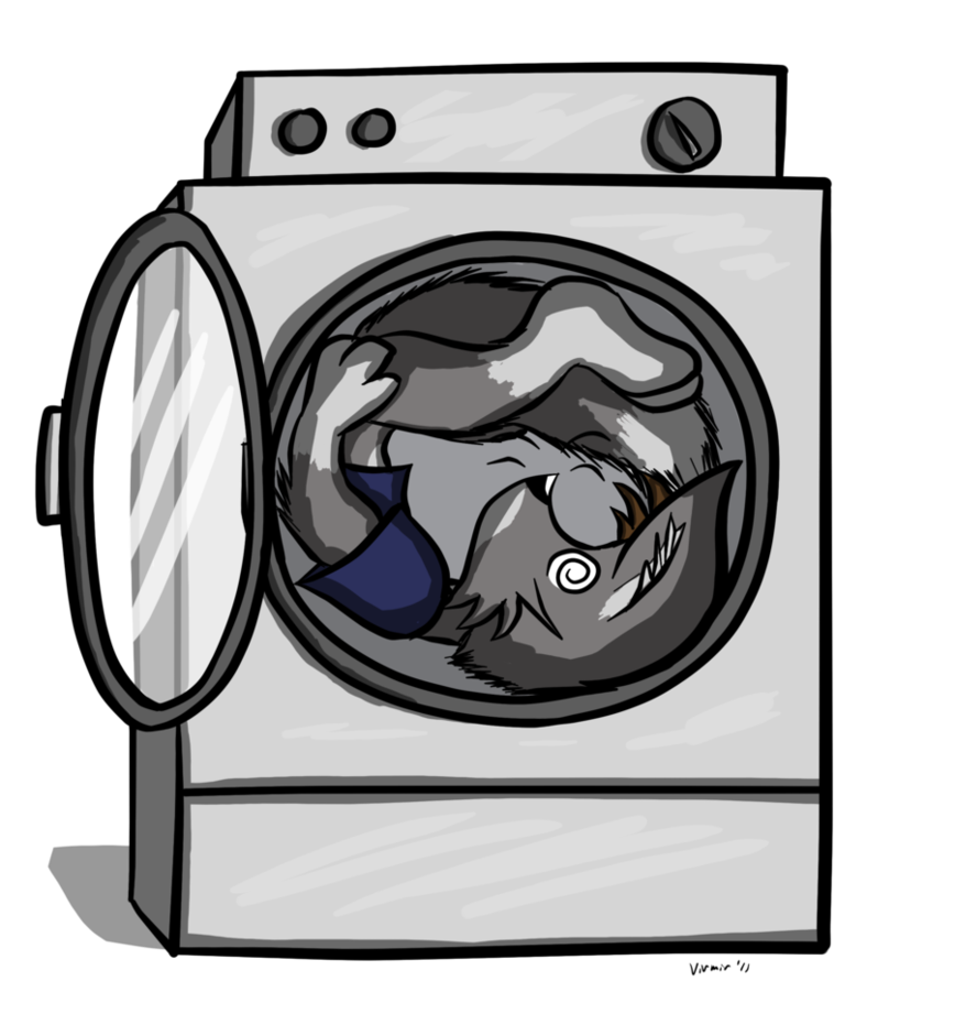 Dryer drawing cartoon. Tech in a by