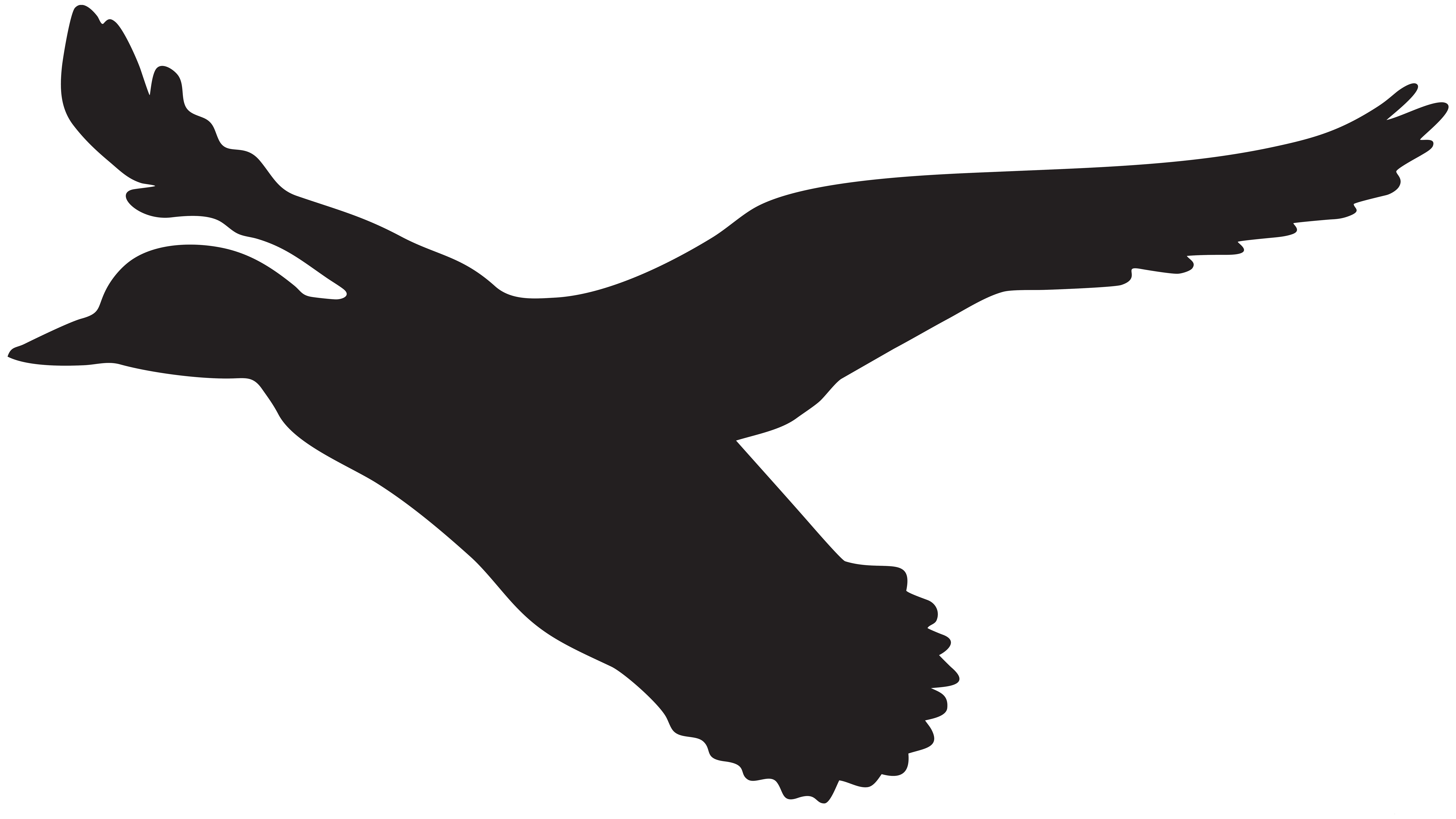 Ducks clipart flying. Duck silhouette png clip