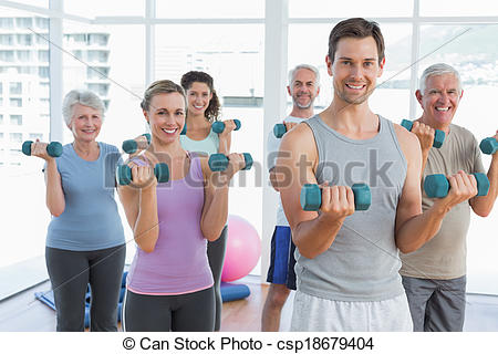 Exercising with dumbbells in. Dumbbell clipart fitness class jpg free download