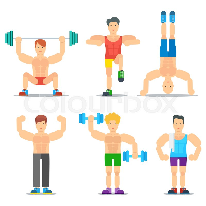 Dumbbell clipart fitness class. Men classes cartoon icons clip library
