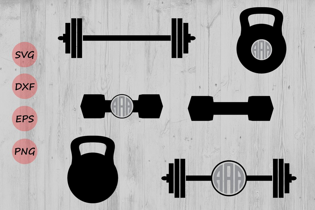Kettlebell clipart svg. Barbell monogram dumb design