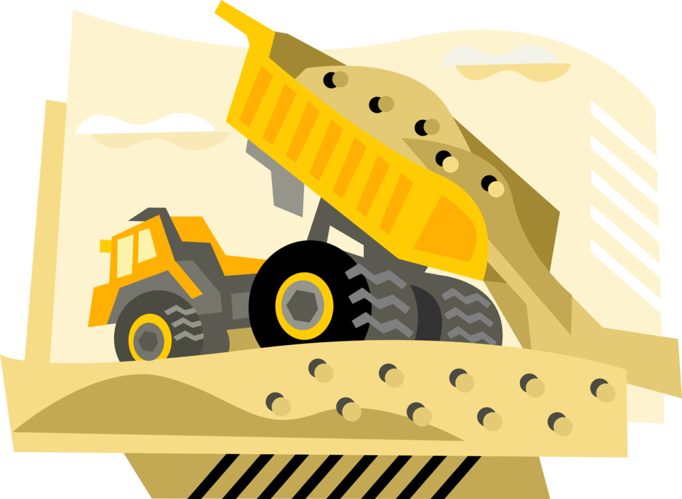 Dump clipart sand truck. Construction dumps load vector