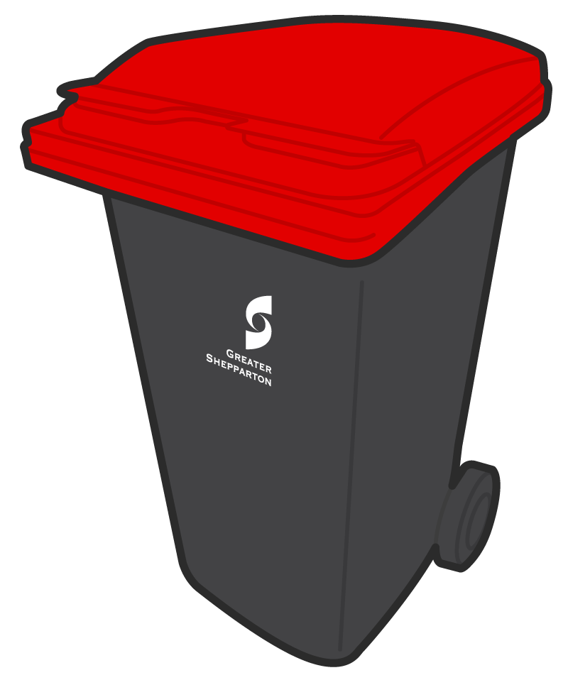 Garbage drawing organic waste. Red lid bin landfill