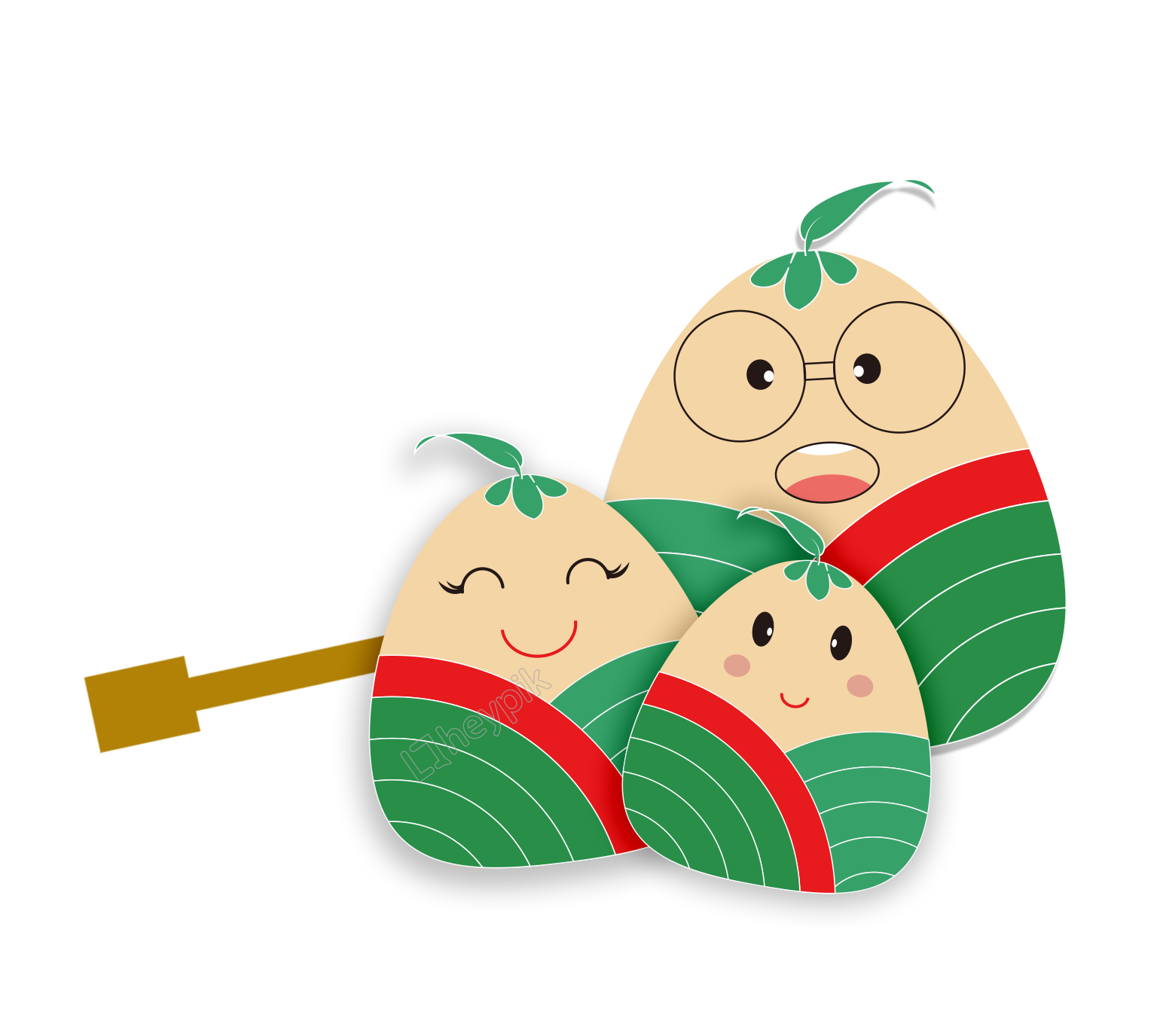 Dumpling vector cartoon. Hand drawn dice decoration