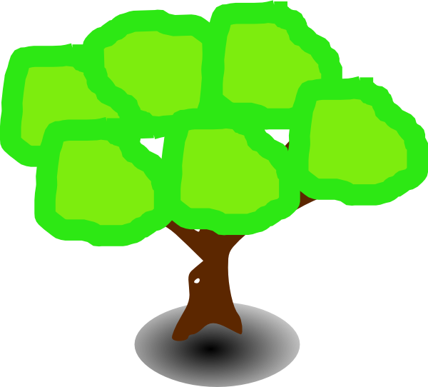 Dumpling vector cartoon. Six green tree clip
