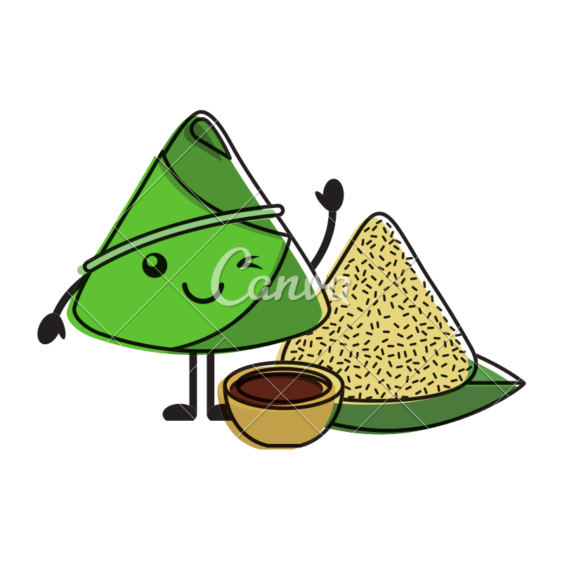 Dumpling vector cartoon. Kawaii rice with sauce