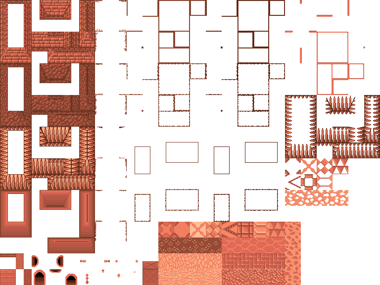 Dungeon wall png. Tileset with walls and