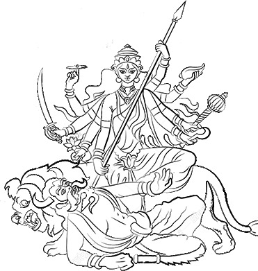 Durga drawing. Kumortuli com kartick chandra