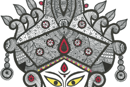 Durga drawing. Images of maa k