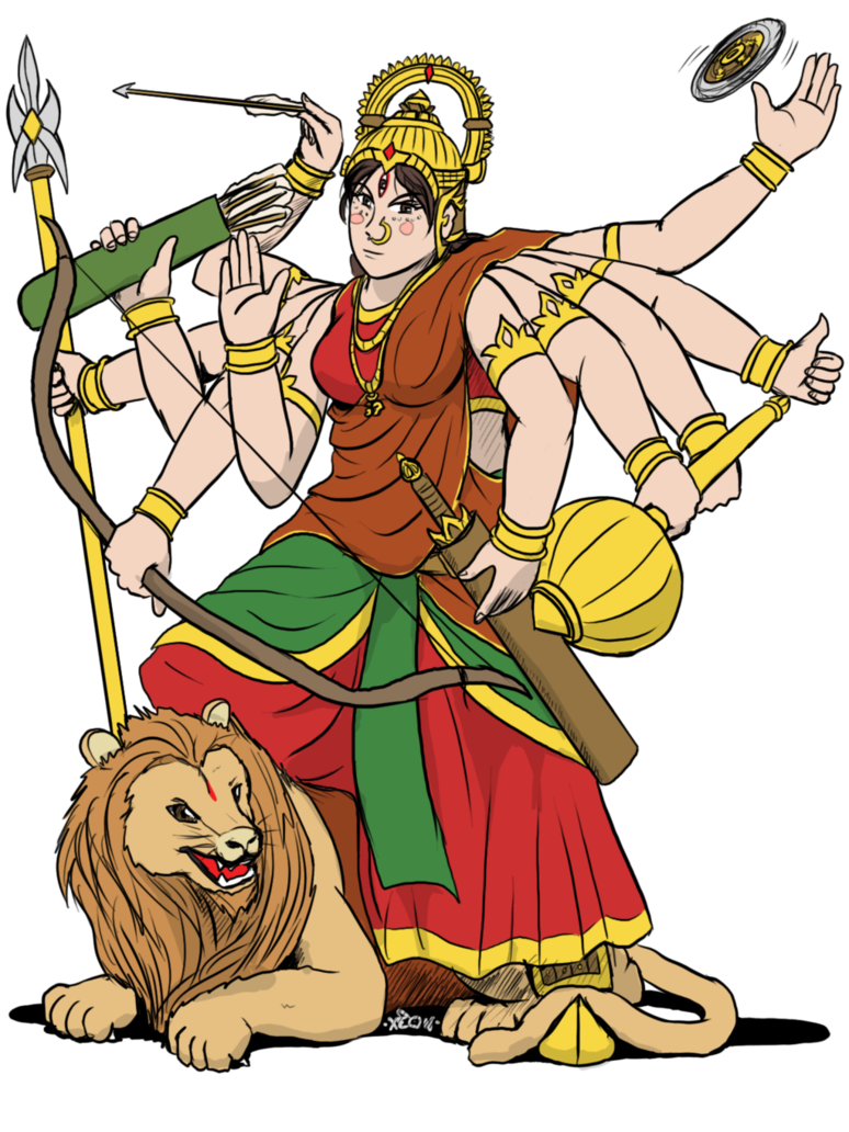 Devi by vachalenxeon on. Durga drawing maa jpg black and white library