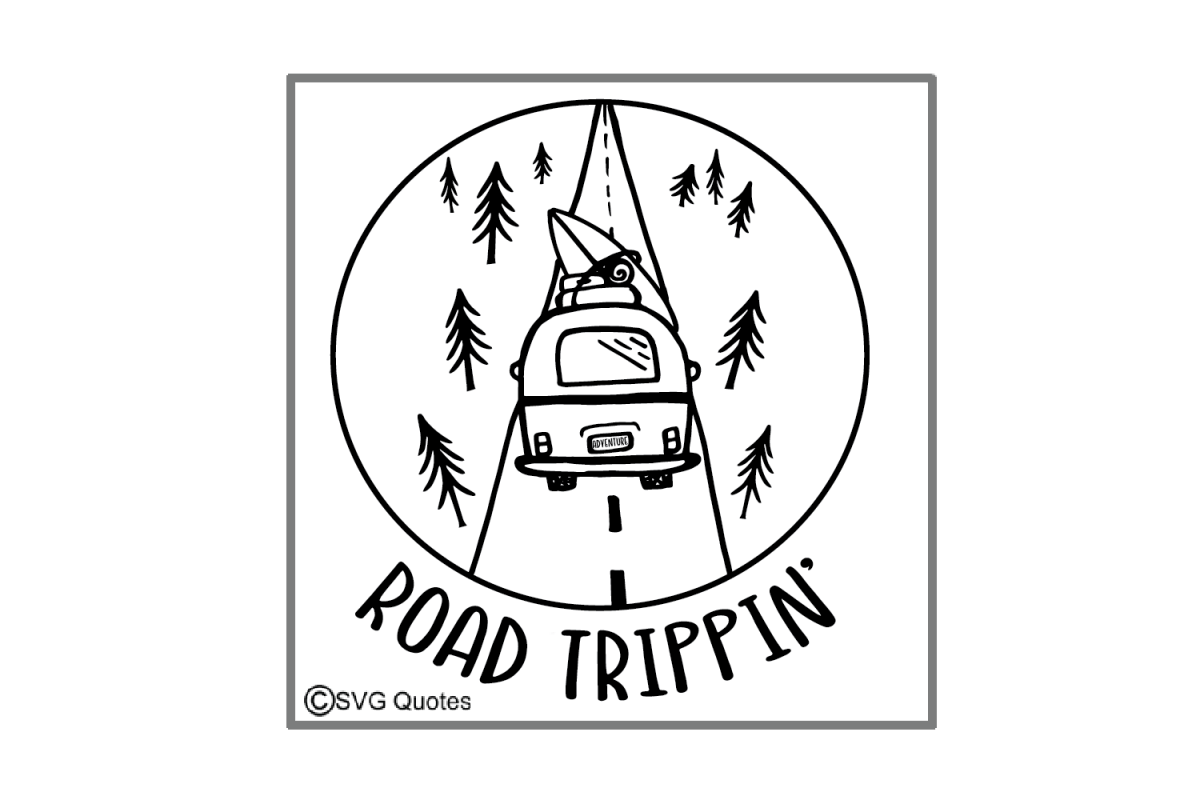 Dxf drawing. Road trippin svg eps