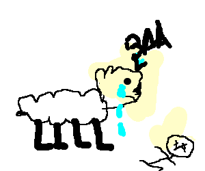Giant sheep cries over. Dying drawing image stock