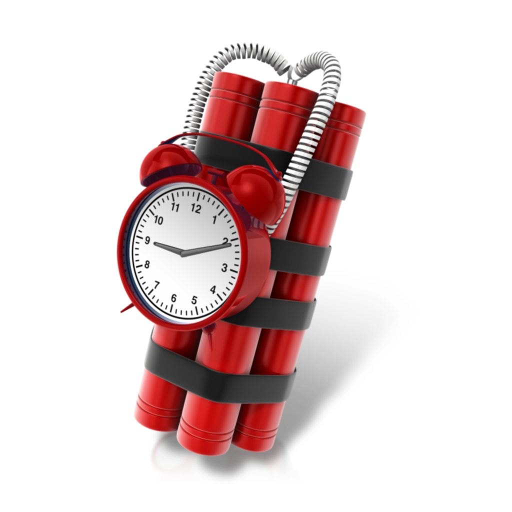 Dynamite drawing time bomb. Mq timebomb red clock