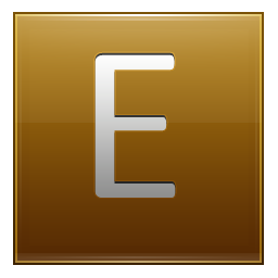 E transparent gold. Letter icon free of
