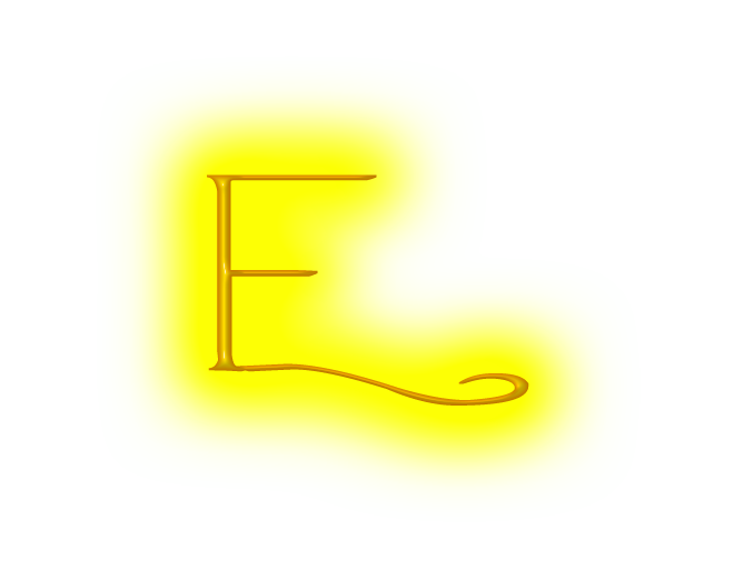 E transparent neon. Yellow letter by neonlettersplz