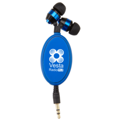 Earbud clip retractable. Evans manufacturing promotional products