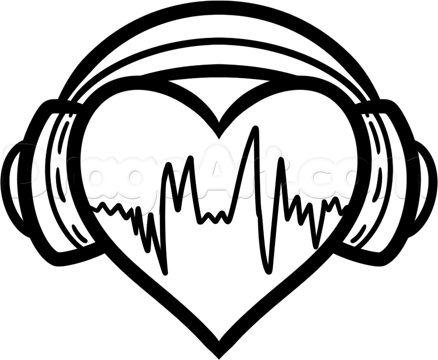 Earbuds clipart heart. How to draw headphones