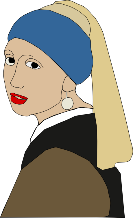 Earring drawing woman. Girl with a pearl